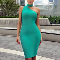 Choker Detail Asymmetric Bandage Dress