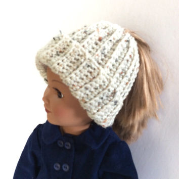 Aran Fleck Messy Bun Hat, Off White with Flecks of Color Ponytail Beanie, Crocheted Doll Hat, 18 Inch Doll Clothes, Winter Doll Clothes