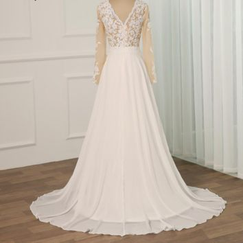 New Long Sleeves Applique Wedding Dresses Scoop Neck Side Slit Illusion Chiffon Bridal Gowns Sweep Train