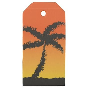 Island Sunset Wooden Gift Tags