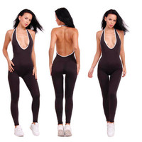 Hot Popular 2017 Trending Fashion Sexy Slim Backless Spagehetti Strap V Neck Erotic Romper Trousers Pants _ 11663