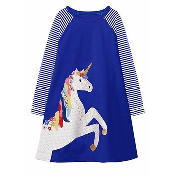 Jumping meters Multi Colors Unicorn dresses for girls cotton clothes kids dresses animals applique autumn 2018 children dress