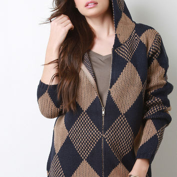 Harlequin Knit Hooded Jacket