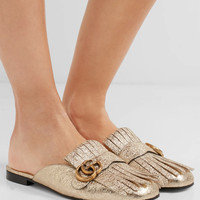 Gucci - Marmont metallic cracked-leather slippers