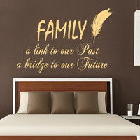 Wall Decal Quote Family a Bridge to our Future Vinyl Stickers Birds Feather Art Mural Home Boho Decor Living Room Interior Design KI67