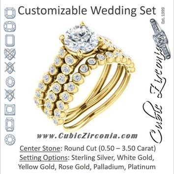CZ Wedding Set, featuring The Roxana engagement ring (Customizable Round Cut Design with Beaded-Bezel Round Accents on Wide Split Band)