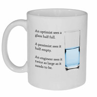 Engineer and a Glass of Water Coffee or Tea Mug