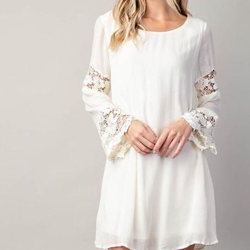 Touch of Lace Shift Dress - Natural
