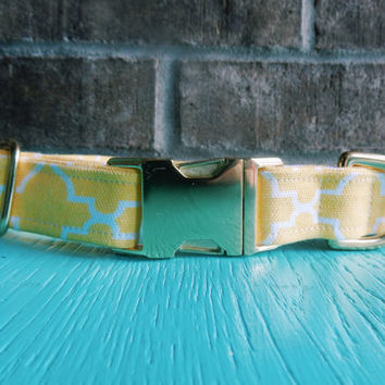 Canvas Yellow Dog Collar, Yellow Design Dog Collar, Girl Dog Collar
