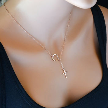 Infinity Cross Necklace, Sterling Silver Sideways Infinity Cross Necklace, Infinity Lariat Necklace, Rose Gold Cross Necklace