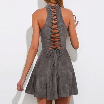 2017 spring women casual solid gray sleeveless off the shoulder pleated bandage dress high waist sexy party club dresses