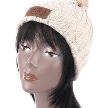 Beige Pom Pom Cable Knit Winter Beanie Hat And Cap