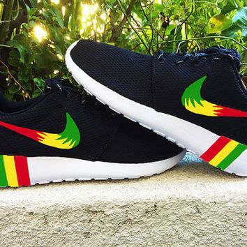 Nike Roshe Run custom design, Rasta colors, Red, Yellow, Green, Rastafari design
