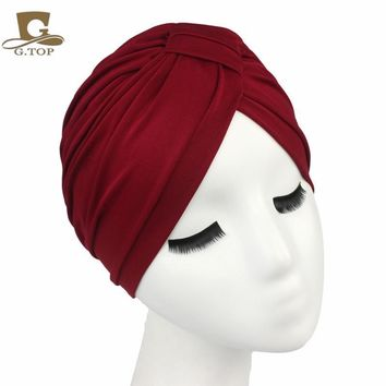 Free Shipping 2016 New Fashion Women Indian Stretchable Cotton Turban Hat Headband Wrap Chemo Bandana Hijab Pleated Indian Cap