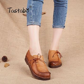 LMFIW1 Tastabo Handmade vintage women shoes genuine leather female moccasins loafers soft Com