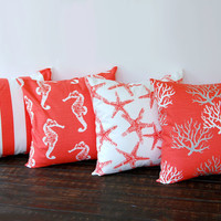 "Four throw pillow covers 18"" x 18"" cushion covers salmon coral beach nautical decor"