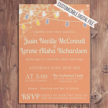 Festive Lights Rustic Peach Wedding Invitation - Bridal Shower Party Lanterns Print Elegant Professional Pretty Custom - DIY Printable (006)
