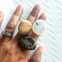 Adjustable Beach Stone Rings, Natural Polished Stones, Beach Boho Ring, Casual Beach Wear,Gold, Black White