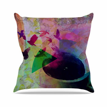 "AlyZen Moonshadow ""TEA BIRDS"" Purple Multicolor Outdoor Throw Pillow"
