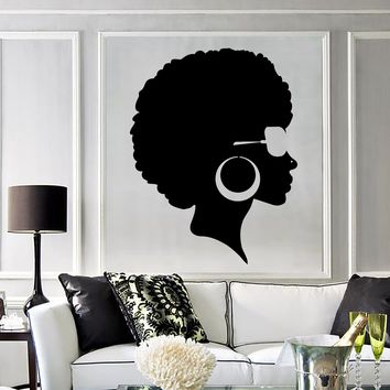 Vinyl Wall Decal Afro Hairstyle Black Lady Beauty Salon Stickers Mural Unique Gift (ig3803)