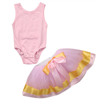 Baby clothing Tutu Skirt set 2017 Summer Toddler Infant Baby Girls Tops Romper+Tutu Dress Ball Gown Kids Skirts Outfits