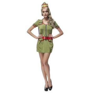 Navy Army Green Drillmaster Halloween Game Uniform Costume