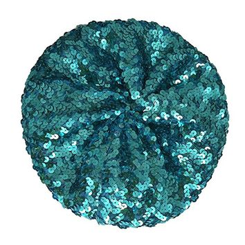 Chuangli Bling Sparkle Sequin Beret Hat Performance Shining Cap For Dancing Party Mermaid Beret Hat