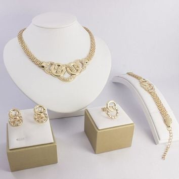 African Wedding 18K Gold Plated Jewelry Necklace Earrings Ring Bangle