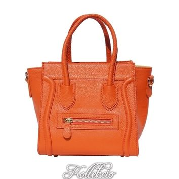 Orange Genuine Italian Leather Handbag with Long Shoulder Strap