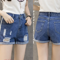 Fashion Casual Irregular Ripped Worn High Waist Crimping Denim Shorts Jeans