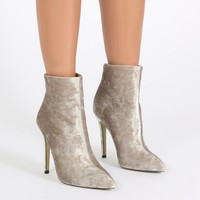 PDxHB Monaco Pointed Toe Ankle Boots in Champagne Crushed Velvet