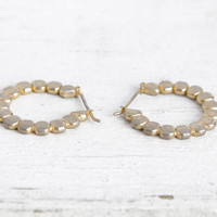 Vintage Small Gold Hoop Earrings with Linked Flattened Drop Pattern, Everyday Earrings