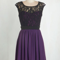 Short Length Cap Sleeves A-line Shortcake Story Dress in Purple by ModCloth
