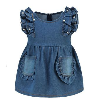 Baby Girl Dress Kid Toddler Summer Ruffle Flying Sleeves Denim Jeans Party Dresses Outfit Pearl Dresses for Party and Wedding