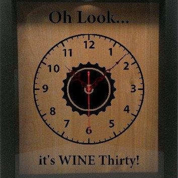 "Shadow Box Clock Wine Cork/Bottle Cap Holder 9""x11"" - Oh Look It's Wine Thirty"