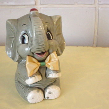 Adorable Vintage Ceramic ELEPHANT Coin Bank