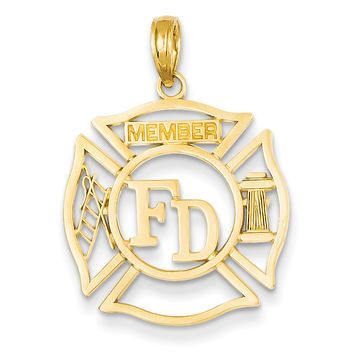 14k FD Member in Shield Pendant C3105