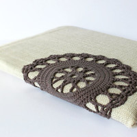 Delicate iPad case decorated with crochet lace For iPad 1 2 3 new Romantic rustic Autumn accessory. -10% discount code oct2012