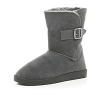 River Island Womens Grey faux fur lined buckle trim boots