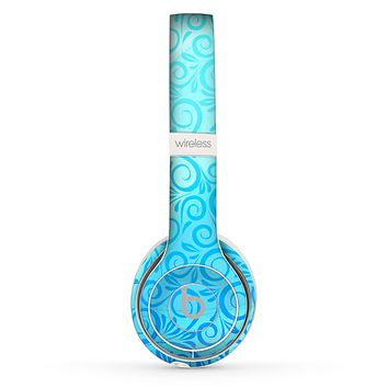The Bright Blue Vector Spiral Pattern Skin Set for the Beats by Dre Solo 2 Wireless Headphones