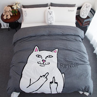 RIPNDIP Lord Nermal Dark Gray & White 4 Piece Bedding Set | 1 Duvet/Quilt Cover * 200 x 230 cm | 1 Flat Sheet * 245 x 250 cm | 2 Pillow Shams * 48 x 74 cm