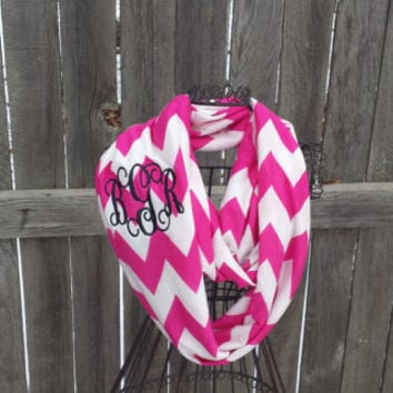Double Loop Infinity Scarf - Monogram Scarf - Monogrammed Gift - Personalized Gift - Winter Accessory - Chevron Infinity Scarf - Rainbow
