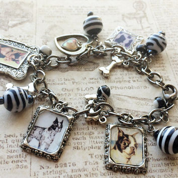 Boston Terrier Charm Bracelet with vintage images black and white beads heart and bones casual jewelry handmade
