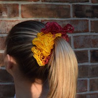 E Cardinal and Gold Hair Scrunchie - Fight On!!! Usc colors