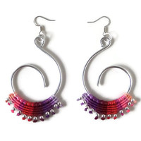 silver free formed wire earrings with colorful macrame and silver beads, summer macrame fashion jewelry, chandelier earrings