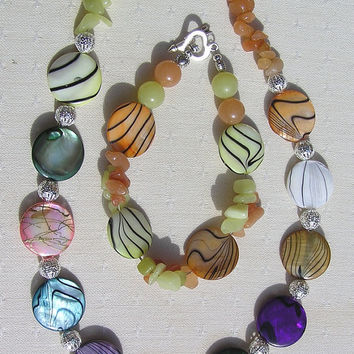 """Necklace & Bracelet Set - Mother of Pearl, Yellow Jade and Red Aventurine  - """"Rainbow Duet"""""""
