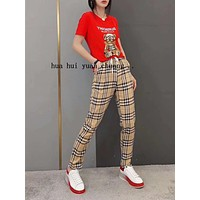 """Burberry"" Woman Leisure Fashion Letter Little bear Personality Printing Crew Neck Short  Sleeve Tops Lattice Stripe Trousers Two-Piece Set Casual Wear Sportswear"