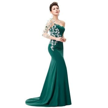 Asymmetrical Long Sleeve Evening Dress Appliques Lace Special Occasion Gowns Dark Green Mermaid Evening Dresses