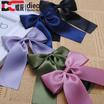 2piece classic solid korean style silk satin ribbon bows elastics rubber bands hair rope hair tie accessories for women 20 color