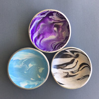 Faux Gemstone Trinket Dish, Polymer Clay, Ring holders, Jewelry Containers, Modern Bohemian, Handmade Miniature Bowls, Gifts for Women
